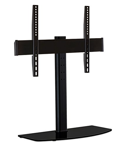 Mount-It! Universal Tabletop TV Stand Mount and AV Media Glass Shelf, TV Mount Bracket Fits 32, 37, 40, 47, 50, 55 Inch TVs, Height Adjustable, VESA 600x400, Black (MI-843)