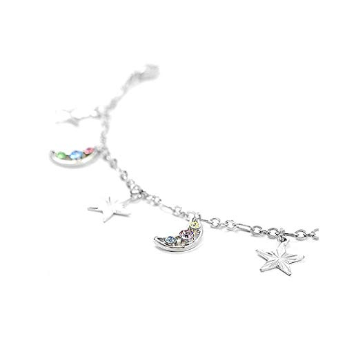 Glamorousky Fantasic Star and Moon Anklet with Multi-Color Austrian Element Crystals (1802) ()