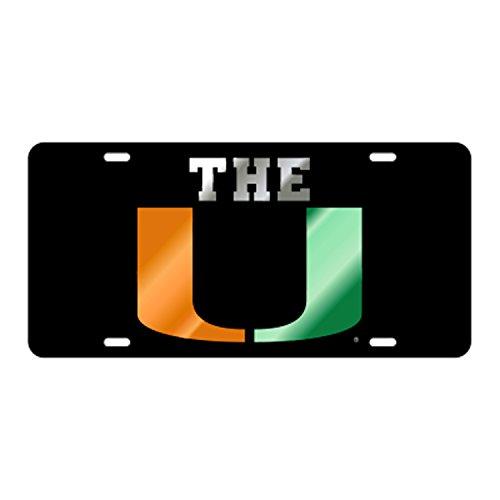 Miami Hurricanes The U Inlaid Mirrored License - Hurricane Mirrored
