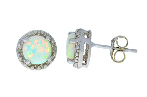 Simulated Opal Diamond Round Stud Earrings 14Kt White Gold Sterling Silver