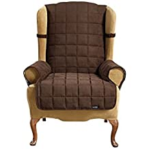 Sure Fit Soft Suede Waterproof - Wing Chair Slipcover  - Chocolate (SF40905)