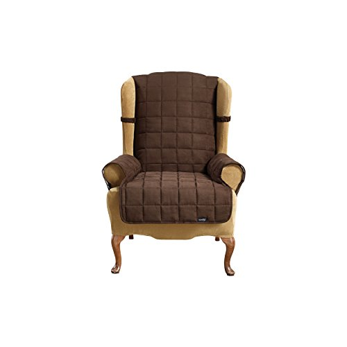 Sure Fit Soft Suede Waterproof - Wing Chair Slipcover  - Chocolate (SF40905) (Wing Suede Chair Soft)