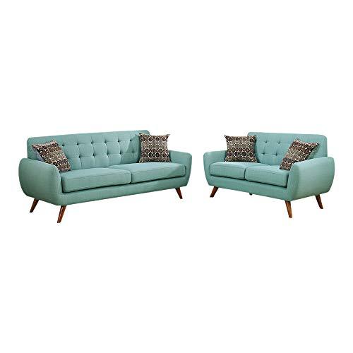 Benzara BM168732 Polyfiber, Blue Sofa