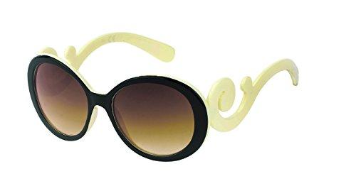 Glamor Chic à Blanc nbsp;Marron teinté Spirale rabat Hippie 400 Mesdames autour Lunettes soleil Étui Net UV Vintage Noir de YrYqFw