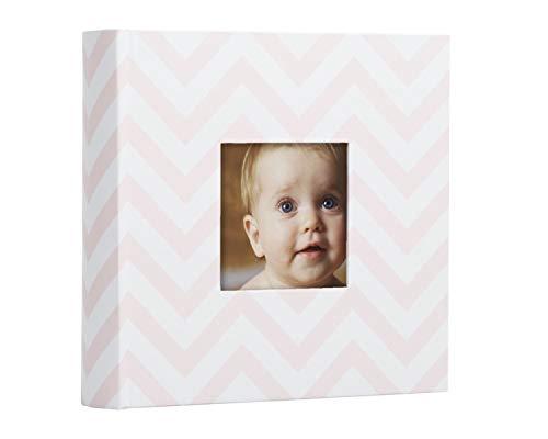 Photo Birthday First Album - Pearhead Chevron Baby Photo Album, Light Pink