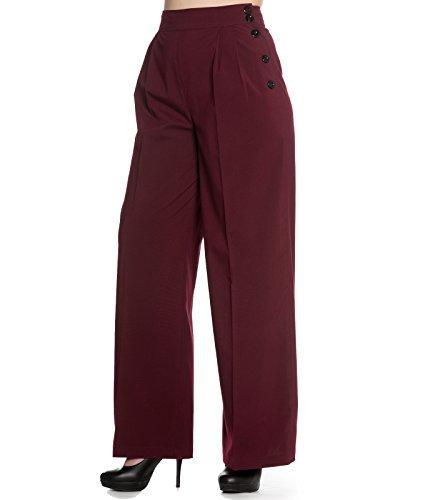 Hell Bunny 40s Hubertine Style Vintage Pantalon Jambes Larges Bordeaux