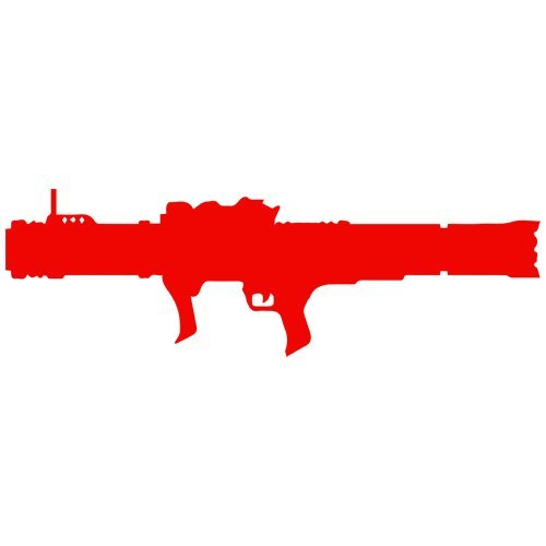 Set of 3 - Bazooka Decal Sticker Color: red, Peel and Stick Vinyl Sticker