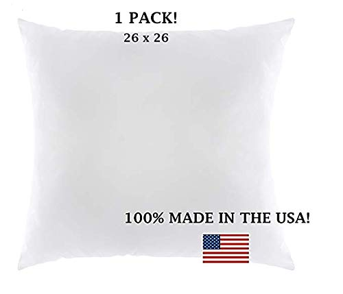 Europhoria Pillows Euro Pillows 26x26 Decorative Square Pillow Inserts for Shams - Hypoallergenic, Down Alternative Fill - 100% Made in the USA by (1 Pack) by Europhoria Pillows