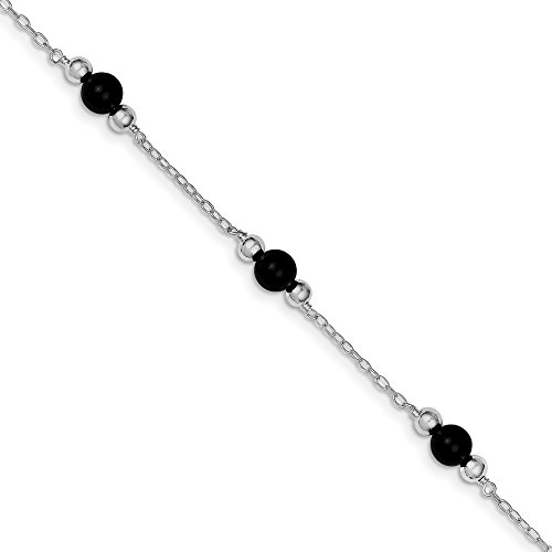 Mia Diamonds 925 Sterling Silver 9inch Polished Simulated Onyx Anklet Bracelet -9