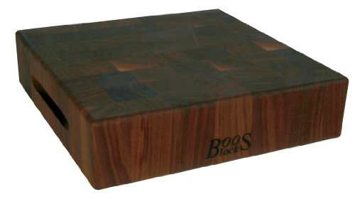 (John Boos Block WAL-CCB183-S Classic Reversible Walnut Wood End Grain Chopping Block, 18 Inches x 18 Inches x 3 Inches)