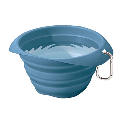 Kurgo Collapsible & Portable Travel Dog Bowl for Food & Water | Portable Water for Dogs | Food Grade Silicone Collapsible Dog Bowl | Pet Travel Accessories | BPA Free | Holds up to 24 oz (Blue)