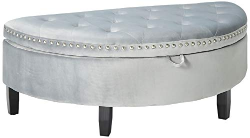 Iconic Home FON9175-AN Jacqueline Half Moon Storage Ottoman Button Tufted Velvet Upholstered Gold Nailhead Trim Espresso Finished Wood Legs Bench Modern Transitional Silver
