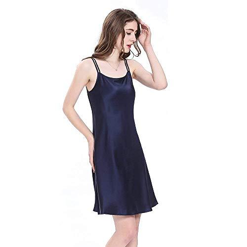 Vintage Adorable Seda Blau Vestido Pijama Verano De Navy Para Corto Noche Mujer Calzado Cálido Mini Camisón YHqY4CAxIw