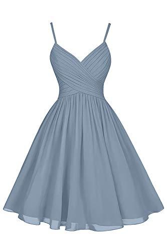 Dusty Blue Bridesmaid Dresses Short Knee Length A-Line V-Neck Chiffon Party Dress with Pockets