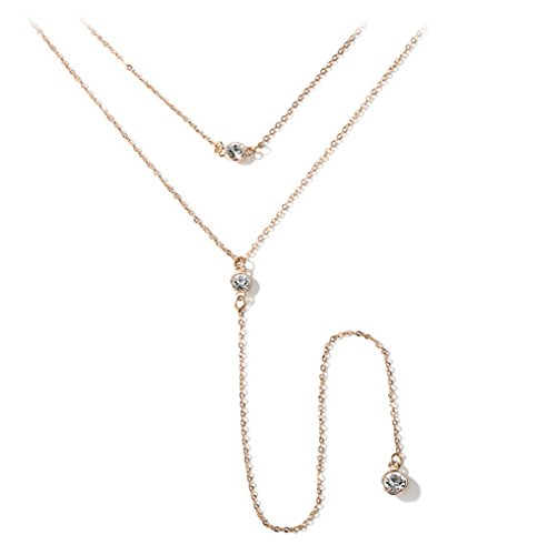 (Fancymix Chic Y Lariat Style Chain Jewelry Rhinestone Necklaces for Women and Girls 606Y)