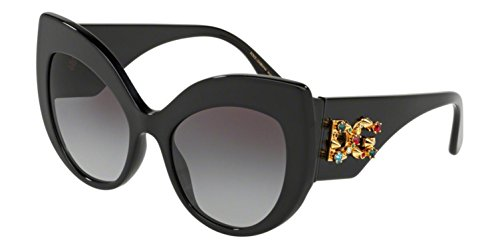 Dolce & Gabbana Women's Extreme Cat Eye Sunglasses, Black/Grey, One Size