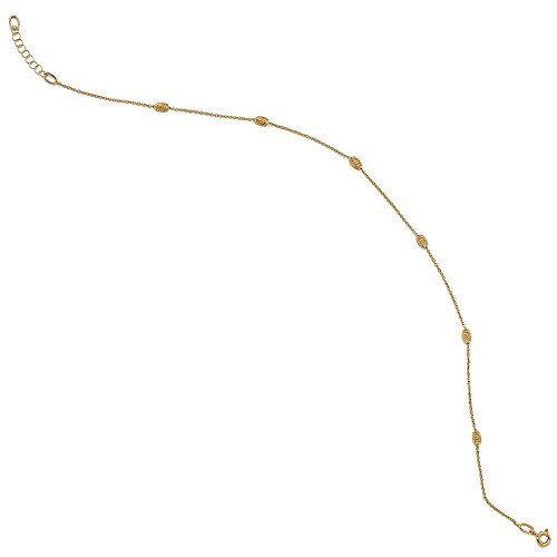 Gold Anklet Diamond Cut Cable - Black Bow Jewelry 14k Yellow Gold Diamond-Cut Beaded Cable Chain Anklet, 10-11 Inch