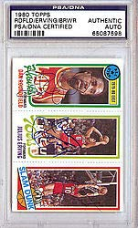 Julius Erving Dan Roundfield and Ron Brewer Signed 1980 Topps Trading Card - PSA/DNA Authentication - NBA Basketball Trading ()