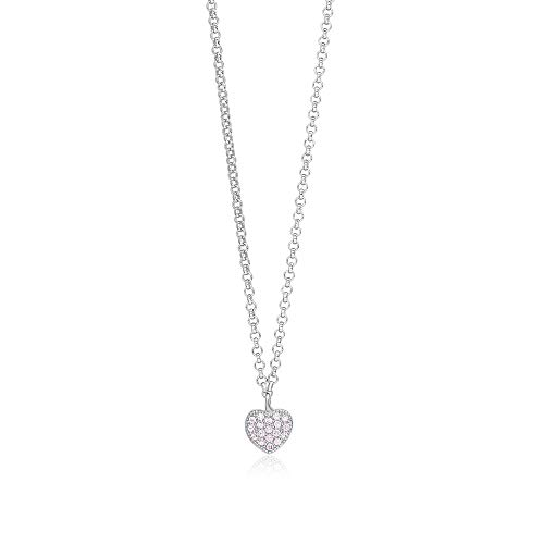 "UNICORNJ Childrens Sterling Silver 925 Pink Cubic Zirconia Pave Small Heart Pendant Necklace 15"" Italy"