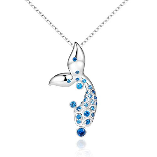 - VANA JEWELRY Blue Moon Silver Necklaces for Women 925 Sterling w/Swarovski Crystal Cubic Zirconia Key Open Heart Dolphin Pendant Necklace Teen Girls Dancing CZ Star Planets Letter G (Mermaid necklace)
