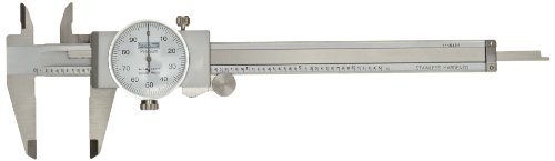 "Fowler Full Warranty Stainless Steel Shockproof Dial Caliper, 52-008-706-0, 0-6"" Measuring Range, 0.001"" Graduation Interval, Face Color White"