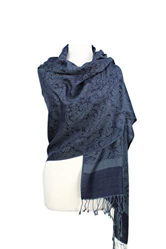 Scarf Silk Shawl New (Paskmlna Paisley Jacquard Pashmina Shawl Wrap Scarf Stole (Gray-blue01891))