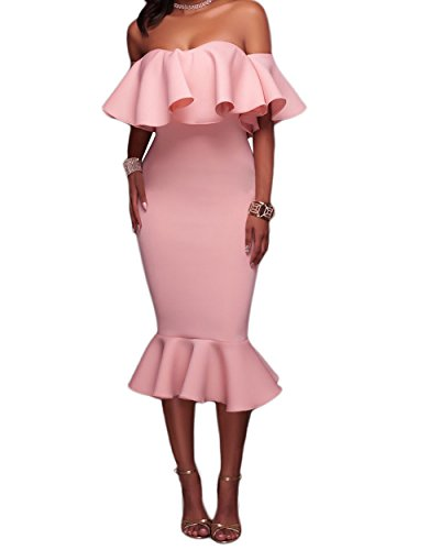 AlvaQ Women's Summer Sexy Off The ShoulderCocktail Midi Dress Plus Size Formal Evening Party Dresses Large Pink