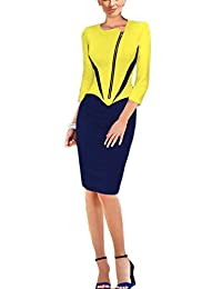 REPHYLLIS Women Zipper Front Wear to Work Cocktail Evening Party Pencil Dress