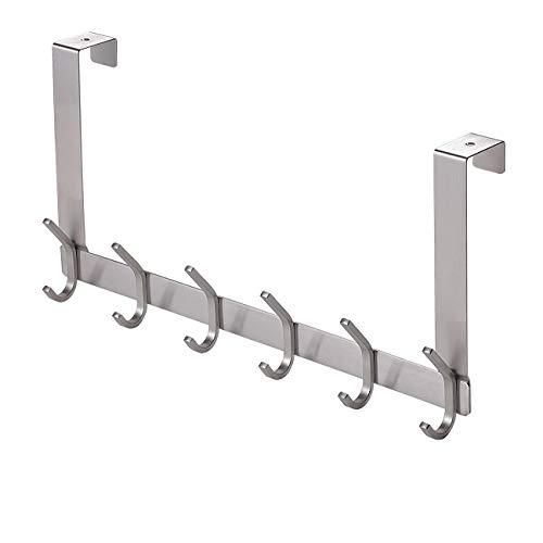 YUMORE Door Hanger,Stainless Steel Heavy Duty Over The Door Hook for Coats Robes Hats Clothes Towels, Hanging Towel Rack Organizer, Easy Install Space Saving Bathroom Hooks