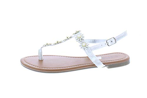 (Gold Toe Women's Malia Metallic Flower Embellished T-Strap Flat Thong Sandal with Back Ankle Strap Silver 6 US)