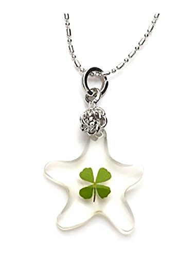 (Genuine Four-leaf Lucky Clover Shamrock Crystal Amber Pendant Necklace, Lucky Starfish, Self Healing Power !)