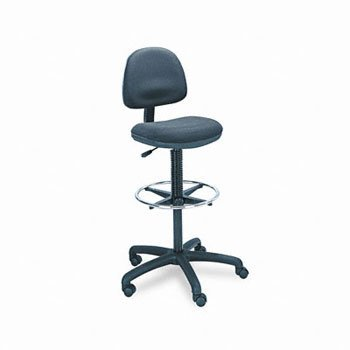 Safco 3401BL Precision Extended Height Swivel Stool w/Adjustable Footring Black Fabric ()