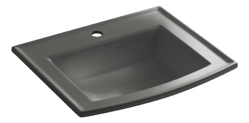 KOHLER K-2356-1-58 Archer Self-Rimming Bathroom Sink with Single-Hole Faucet Drilling, Thunder Grey