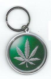 Chrome Pot Leaf Metal Keychain Yujean NSI