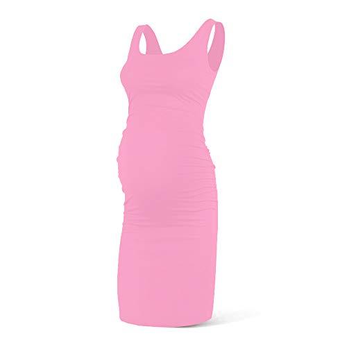 (Rnxrbb Women Summer Sleeveless Maternity Dress Pregancy Tank Scoop Neck Mama Clothes Casual Bodycon Clothing,Rose-M)