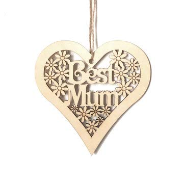 DyNamic 10Cm Placa De Madera Mamá Flores En Forma De Corazón Día De La Madre Decoraciones Colgantes Regalo Artesanal - # 2