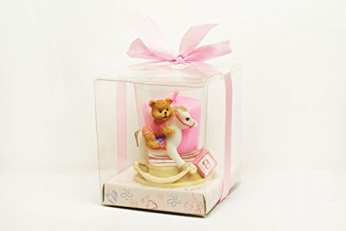 Rocking Horse Bears (Pink Rocking Horse Bear Candle Favor Baby Shower Birthday Party Favor Gift)