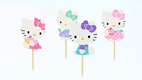 Aiming West Set of 24 Cute Hello Kitty Cake Cupcake or Muffin Toppers for Birthday Party or Baby Shower -