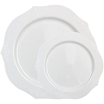 Posh Setting Antique Collection Combo Pack China Look White Plastic Plates(Includes 4 Packs  sc 1 st  Amazon.com : posh disposable plates - pezcame.com