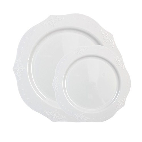 Posh Setting Antique Collection Combo Pack China Look White Plastic Plates,(Includes 2 Packs of 20 Plates, 20 10.25' Dinner Plates and 20 7.25' Salad Plates), Fancy Disposable Dinnerware