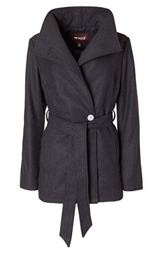Sportoli Women's Wool Look Single Breasted Asymmetric Belted Dress Wrap Pea Coat - Charcoal (Size Large)