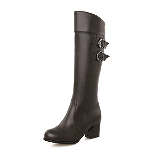 Fashion Heel Womens Round Toe Chunky Heel Knee High Buckle Boot with Side Zip Brown