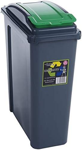 Papelera de Reciclaje de plástico con Tapa y Cubo de Basura para Cocina, jardín, 25 l: Amazon.es: Hogar