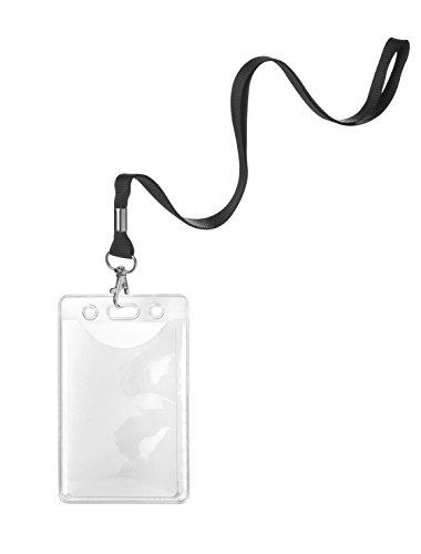 Karteo® Ausweishülle Schutzhülle vertikal mit 16 mm Band Schlüsselband Lanyard schwarz aus geflochtenem Polyester mit Metalldrehhaken für Karten (86 x 54 mm) für Ausweise Messen Kreditkarten Dienstausweise EC Karte Bankkarten Gesundheitskarten benutzbar als Ausweishüllen Kartenhülle Kartenhüllen Ausweishalter Kartenhalter aus Vinyl Plastik