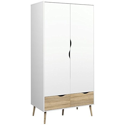 Atlin Designs 2 Drawer and 2 Door Wardrobe in White and Oak (Armoire White Wardrobe)