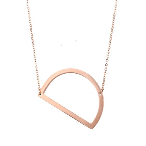 (DIANE LO'REN 18kt Rose Gold Plated Women's Classic Stainless Steel Big Letter Necklace Sideways Initial Chain Script Pendant Name Long Necklaces for Women (Rosegold Letters A-Z) (D))
