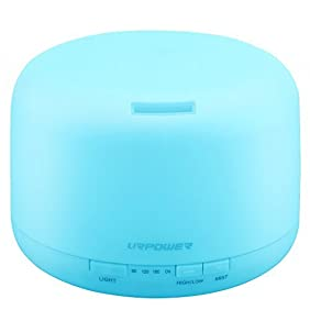 URPOWER 500ml Aromatherapy Essential Oil Diffuser Humidifier with 4 Timer Settings, 7 LED Color Changing Lamps and Waterless Auto Shut-off