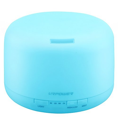 URPOWER 500ml Aromatherapy Essential Oil Diffuser Humidifier with 4 Timer Settings, Waterless Auto Shut-off