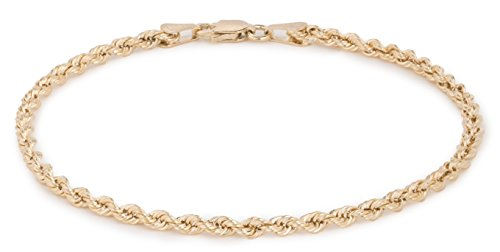 8 Inch 10k Yellow Gold Hollow Rope Chain Bracelet and Anklet for Men & Women, 2.5mm 8 Inch Rope Chain Bracelet