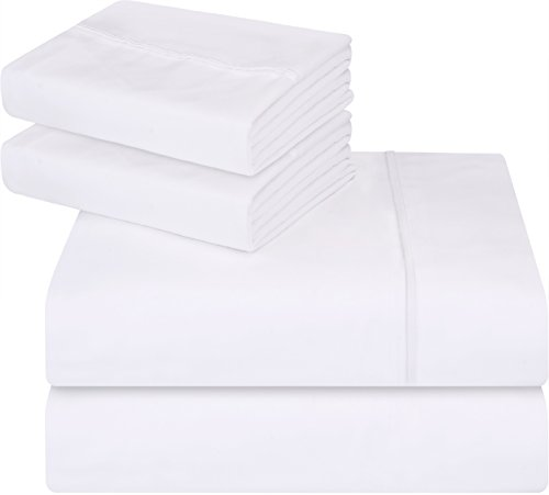 Utopia Bedding Soft Brushed Microfiber Wrinkle Fade and Stain Resistant 4-Piece Full Bed Sheet Set - White Flat Sheet Full Bedding